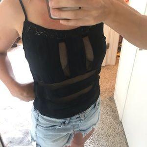 LF black mesh paneled tank top